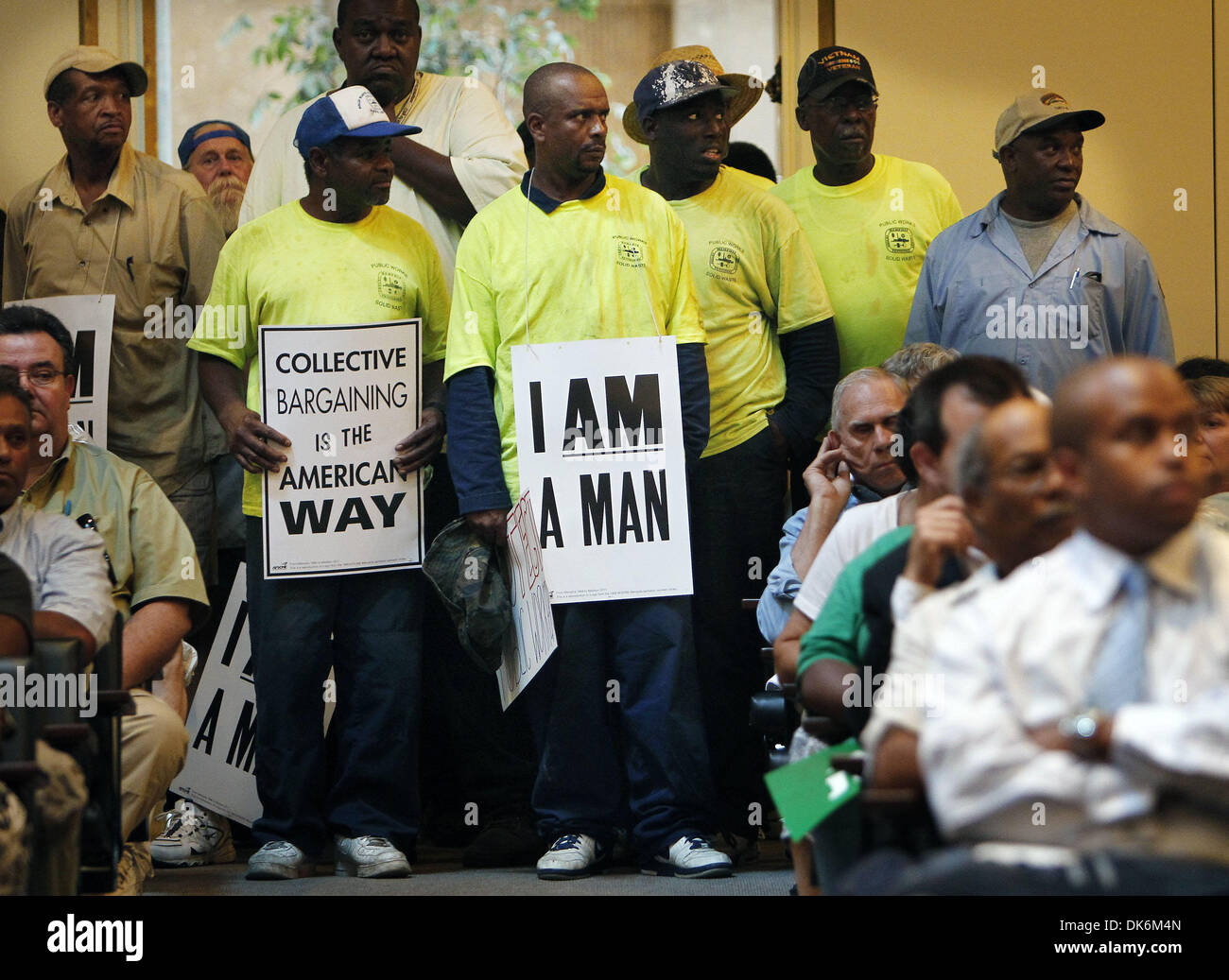 June 7, 2011 - Memphis, TN, U.S. - June 7, 2011 – Wearing I Am Man posters city sanitation workers protest a proposal that Memphis garbage pickup be privatized a during city council meeting Tuesday afternoon. Mayor A C Wharton said Tuesday he did not support a proposal from council member Kemp Conrad to outsource all garbage collection efforts but said he would work with the coun - Stock Image