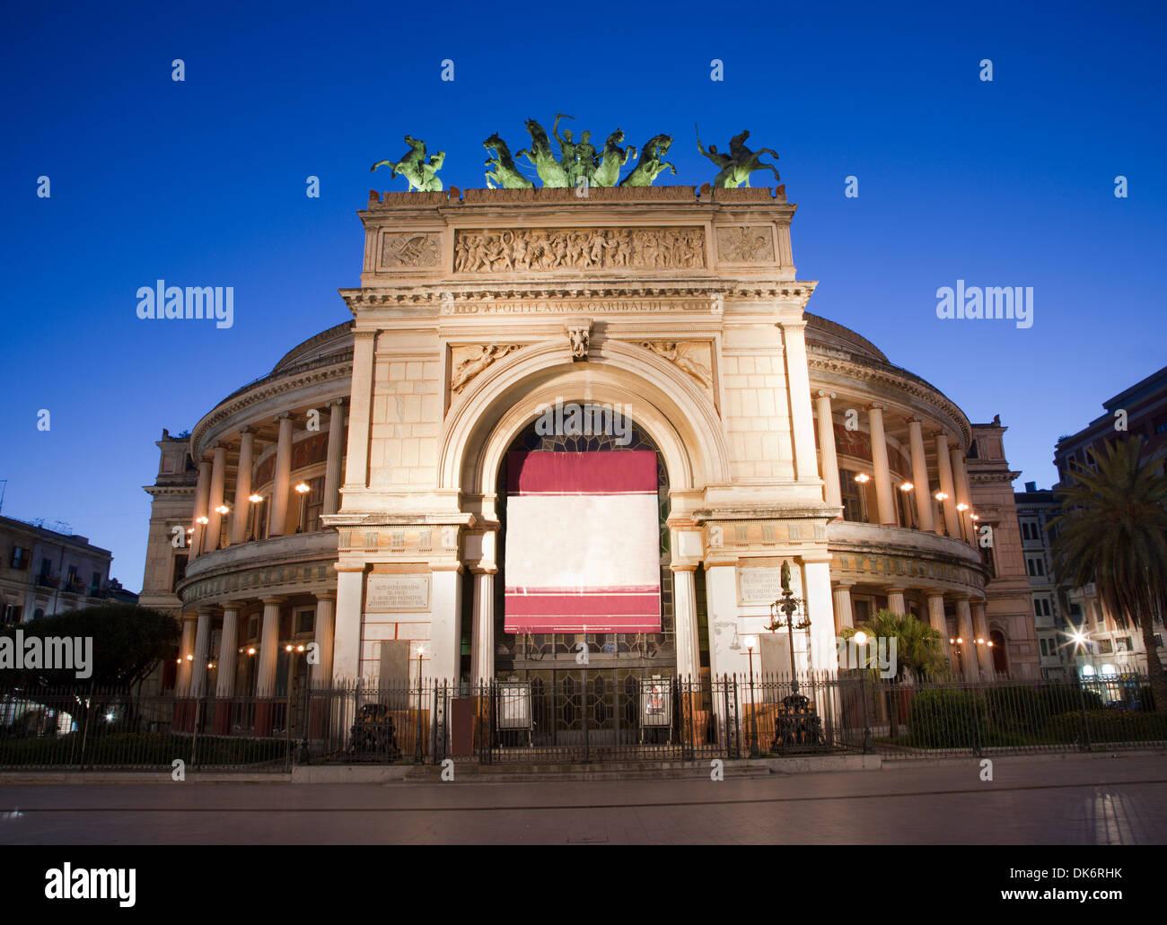 Palermo - Teatro Politeama Garibaldi in dusk Stock Photo