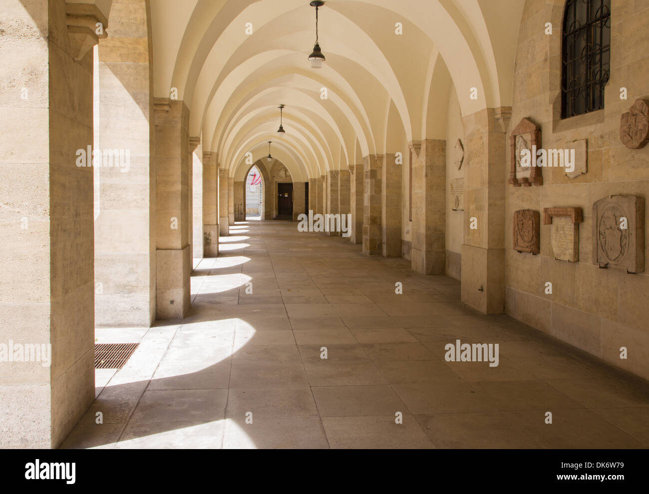 Vienna - external corridor of Minoriten gothic church - Stock Image