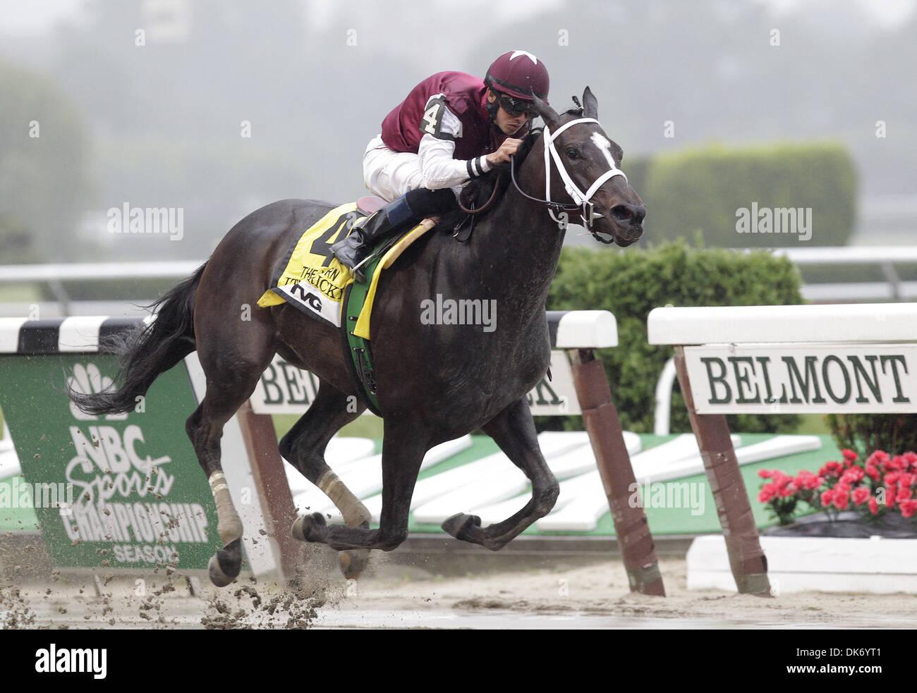 June 11, 2011 - Elmont, NY, U.S. - It's Tricky, Eddie Castro up, wins the Gr. I Acorn Stakes on Belmont Stakes Day. Trainer is Kiaran McLaughlin Belmont Park, June 10, 2011. (Credit Image: © Joan Fairman Kanes/Eclipse/ZUMAPRESS.com) - Stock Image