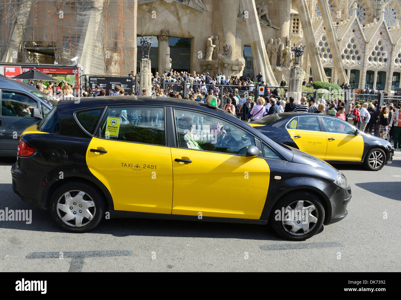 Taxi cab at sagrada familia barcelona spain stock photo 63465838 alamy - Cab in barcelona ...