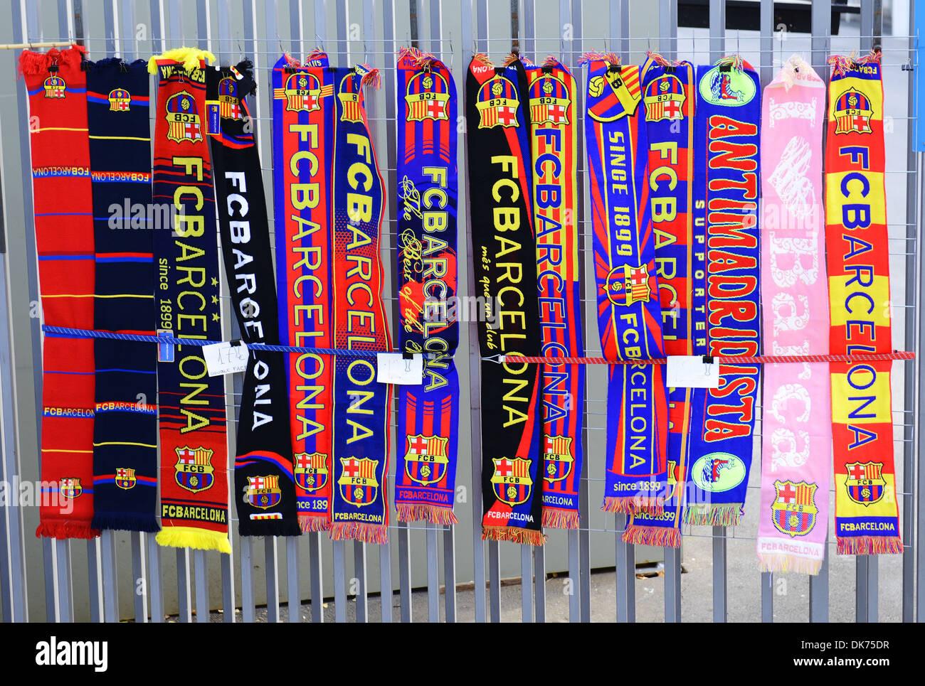 Barcelona football club scarfs for sale, Barcelona, Spain - Stock Image