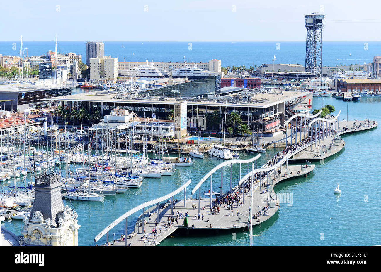 Port Vell harbour, Port Vell harbor, Barcelona, Spain - Stock Image