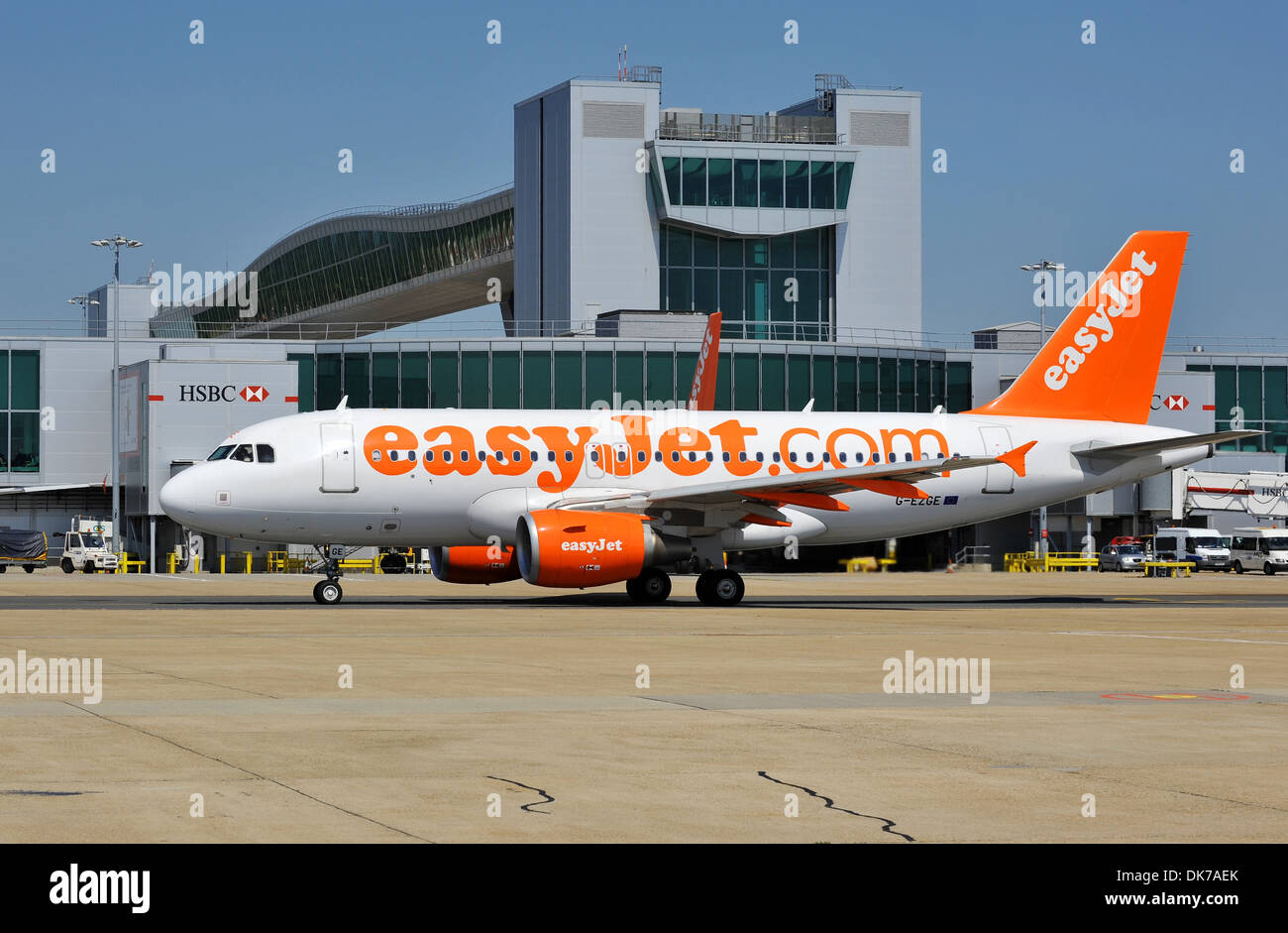 EasyJet plane, EasyJet airline, EasyJet aeroplane at Gatwick Airport Terminal, London, Britain, UK - Stock Image