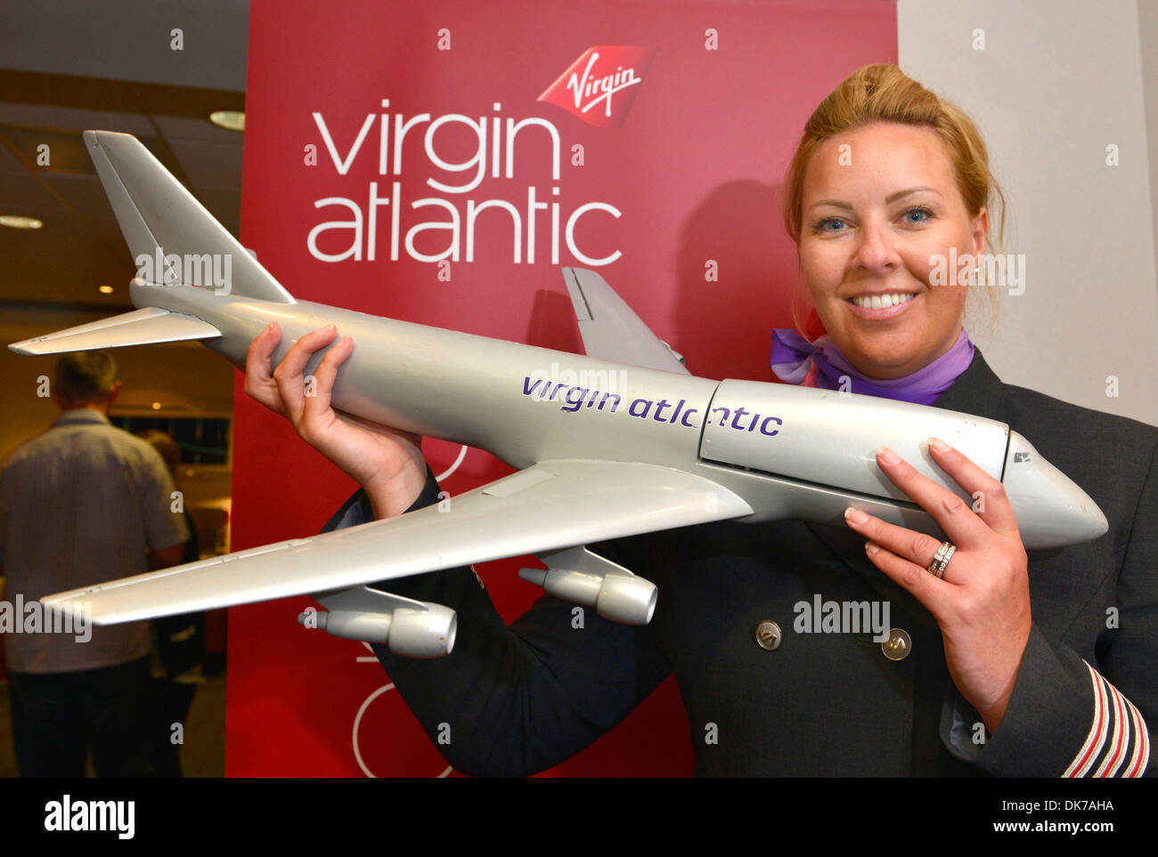 Airline pilot for Virgin Airlines Adele Roberts...Virgin Airline Flying Without Fear course - Stock Image