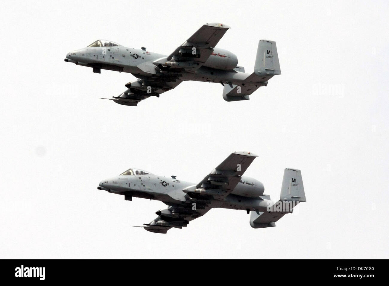 June 19, 2011 - Brooklyn, Michigan, U.S - A pair of A-10 ''Warthogs'' does a flyover prior to the race. (Credit Image: © Alan Ashley/Southcreek Global/ZUMAPRESS.com) - Stock Image