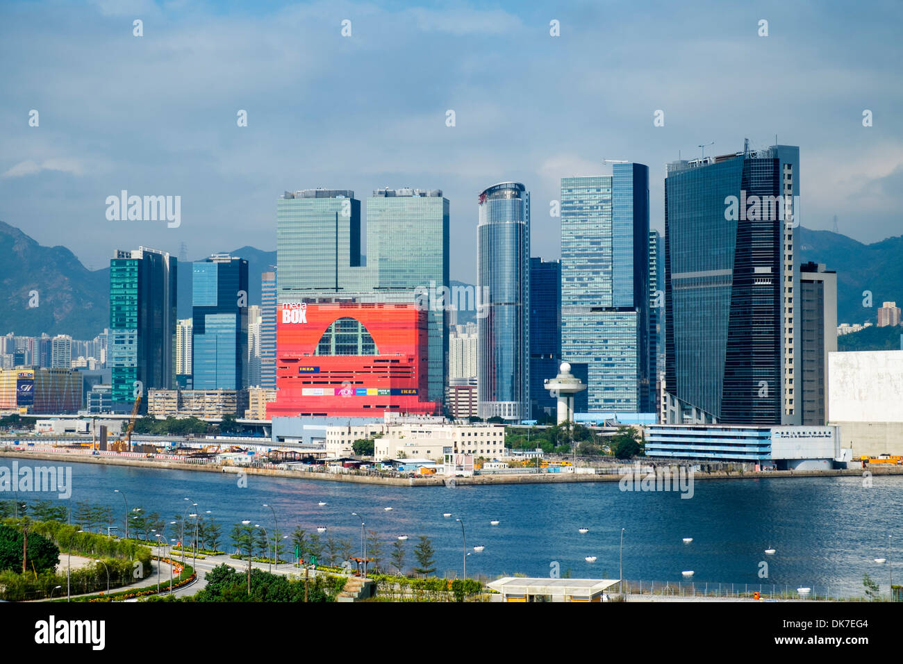 View of dense urban cityscape and high-rise towers in Kowloon Bay Hong Kong - Stock Image