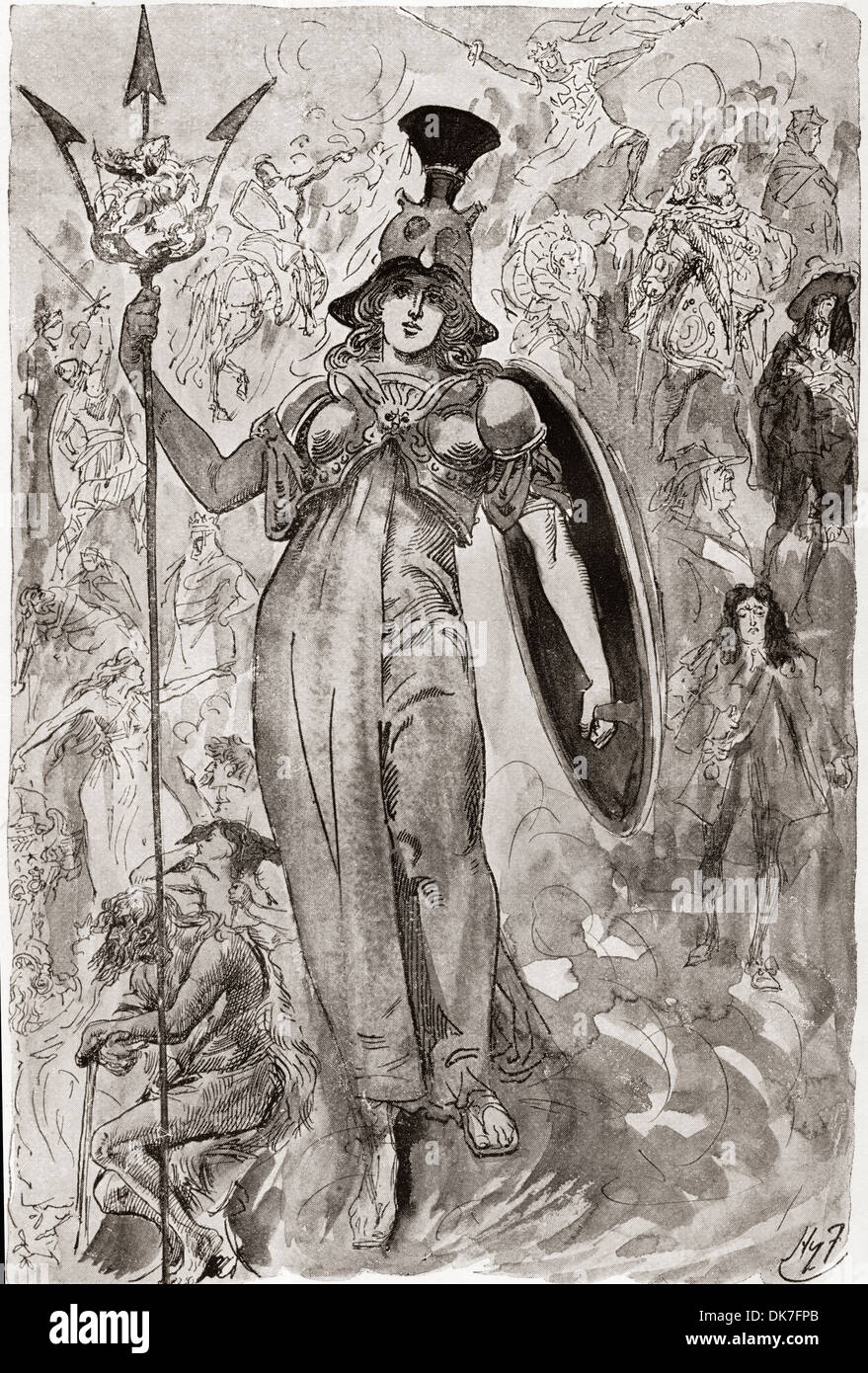 The Pageant of English History. Frontispiece by Harry Furniss for the Charles Dickens book A Child's History of England. - Stock Image