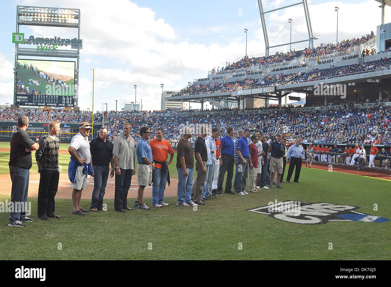 June 23, 2011 - Omaha, Nebraska, U.S - The 1991 Creighton baseball team was honored before the game on the 20 year anniversary of the school's only appearance in the College World Series. Virginia defeated California 8-1 at the College World Series at TD Ameritrade Park in Omaha, Nebraska.  California is eliminated from the tournament and Virginia plays South Carolina Friday night. - Stock Image