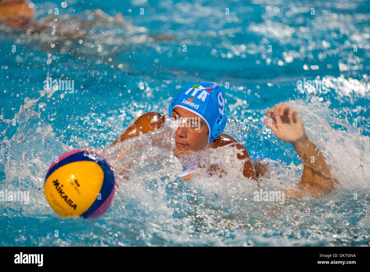 June 23, 2011 - Florence, Italy - n.9 Christian Presciutti from Italy struggles for ball possession during Italy vs China match at Water Polo World League Super Final on day 3. Italy defeated China 12-9 (Credit Image: © Marcello Farina/Southcreek Global/ZUMAPRESS.com) - Stock Image