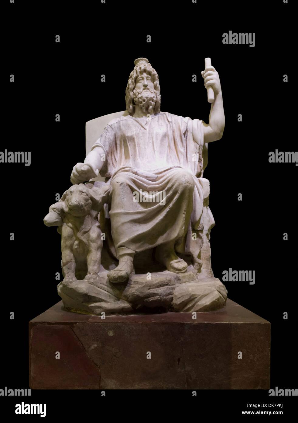 Marble statuette of Serapis, 4th century, Musei Vaticani, temporary exhibition at Colosseum, Rome, Italy. - Stock Image