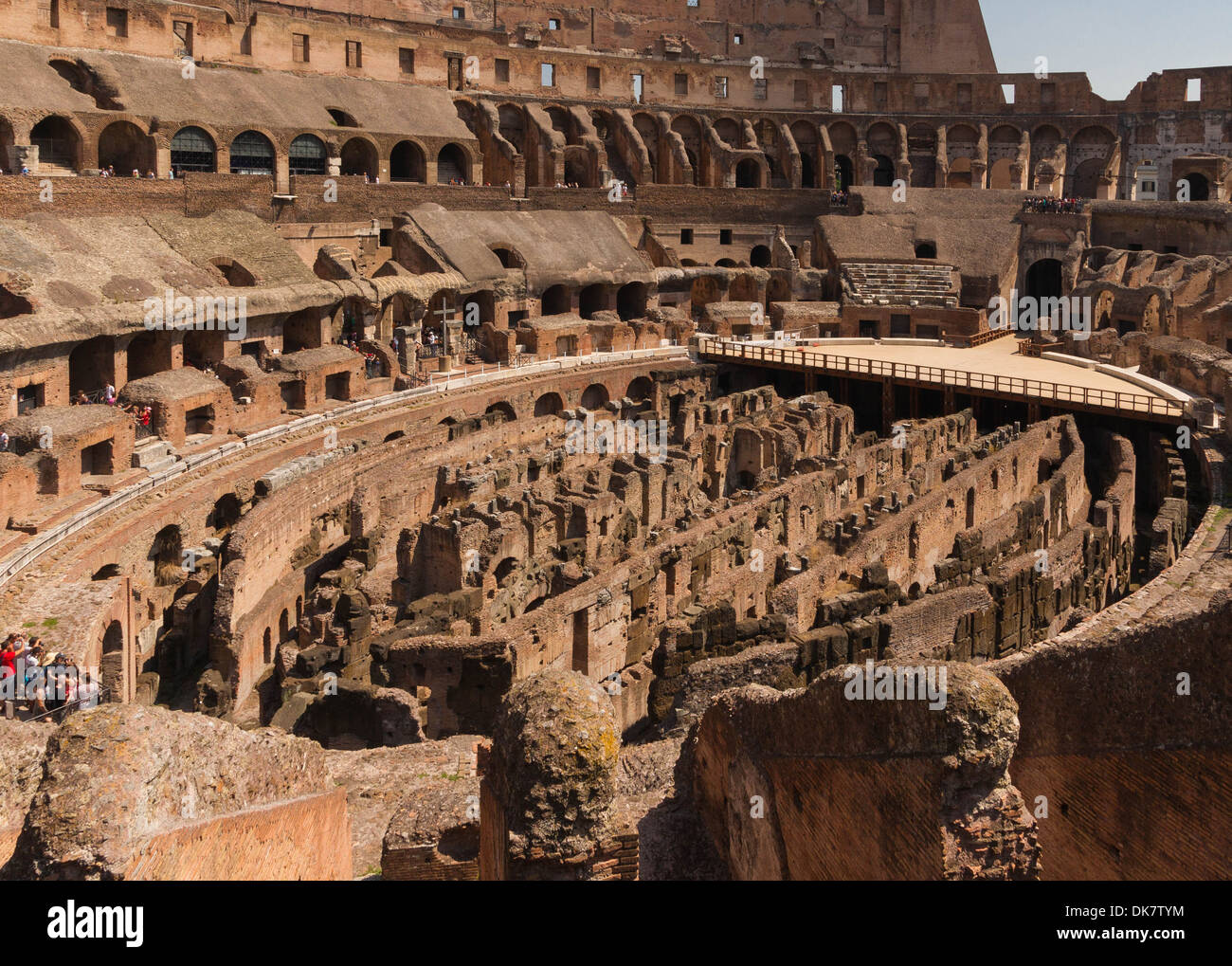 The oval of the arena of the Colosseum, view over the underground. Rome, Italy. - Stock Image