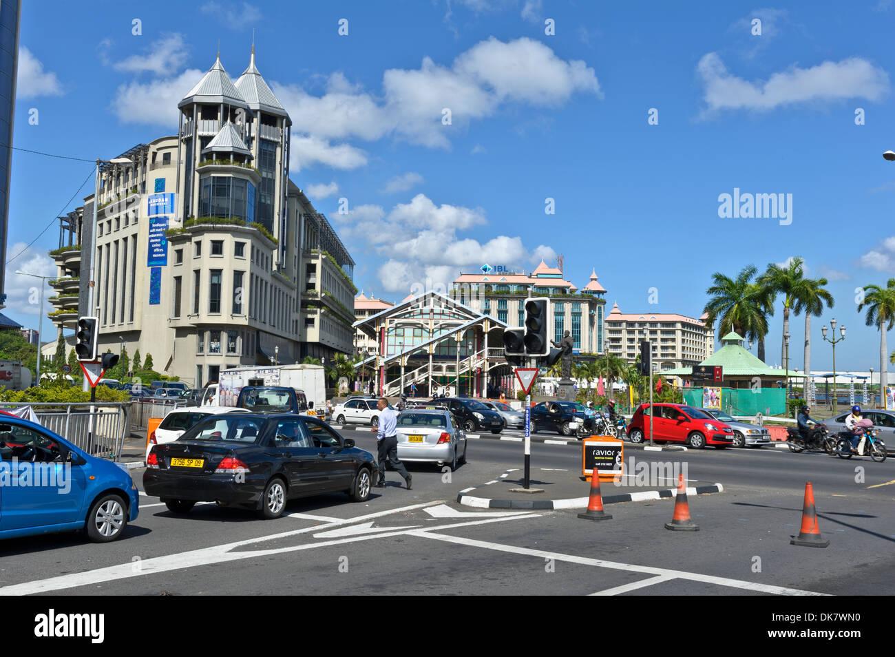 Traffic at Caudan Waterfront, Port Louis, Mauritius. Stock Photo