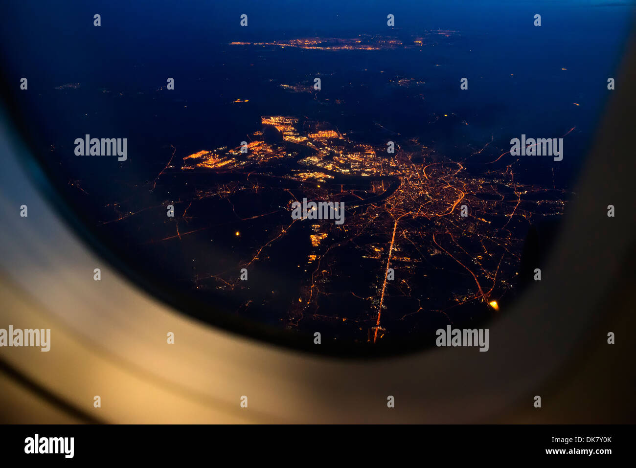 Night View Out Of Airplane Window Stock Photo Alamy