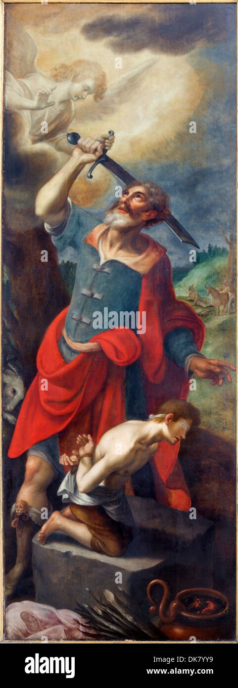 Antwerp Proof of Abraham. Left panel of triptych David and Goliath by De Sayvede Oude from year 1624 in St. Rumbold's cathedral - Stock Image