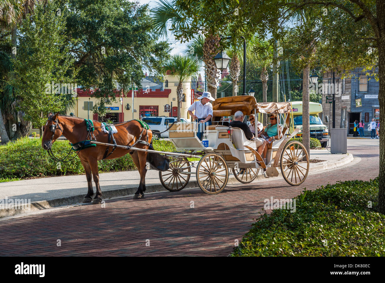 Tourists hire a horse and buggy concession for a tour of historic St. Augustine, Florida - Stock Image