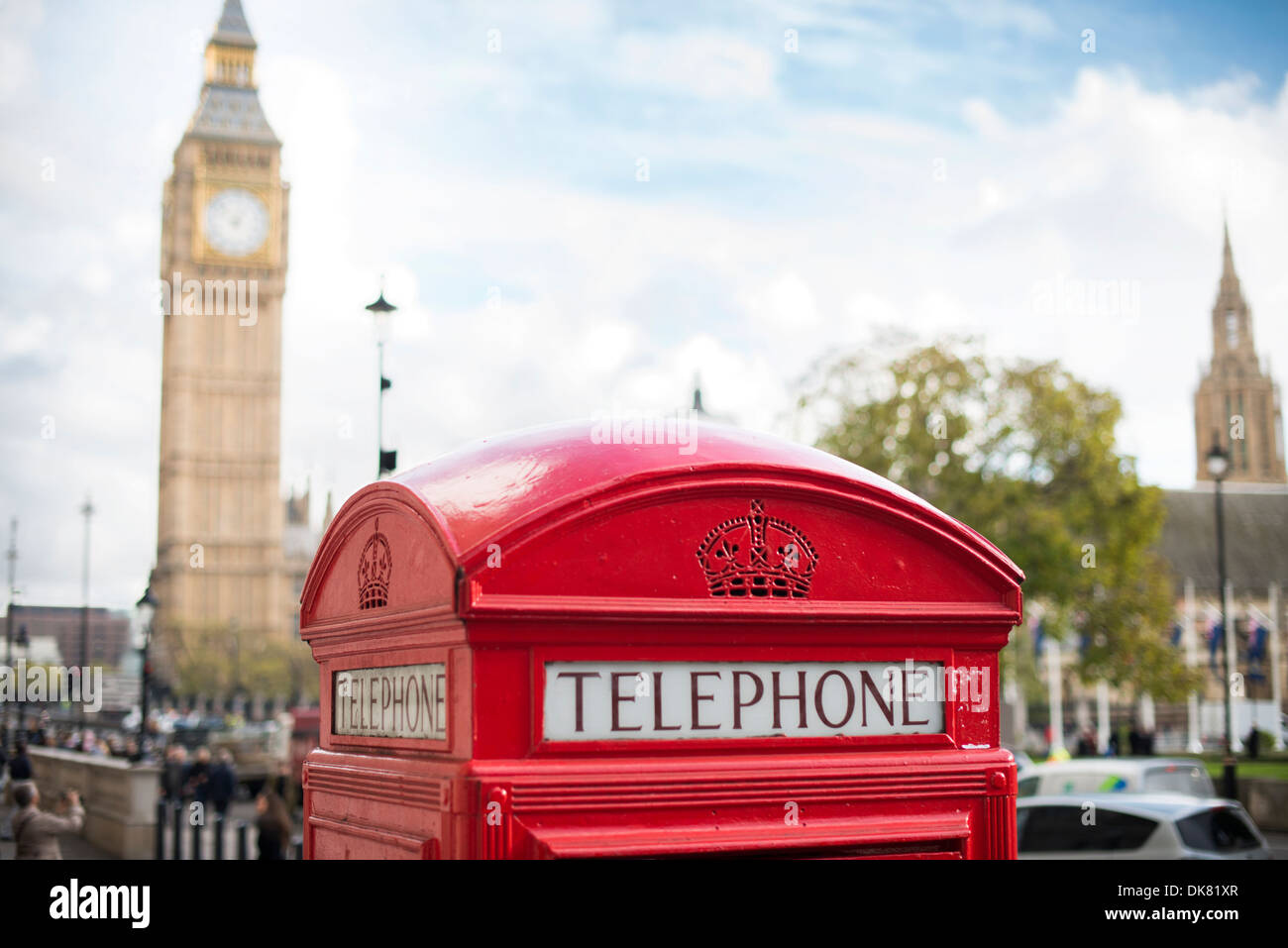 Big ben and red phone cabine in London Stock Photo