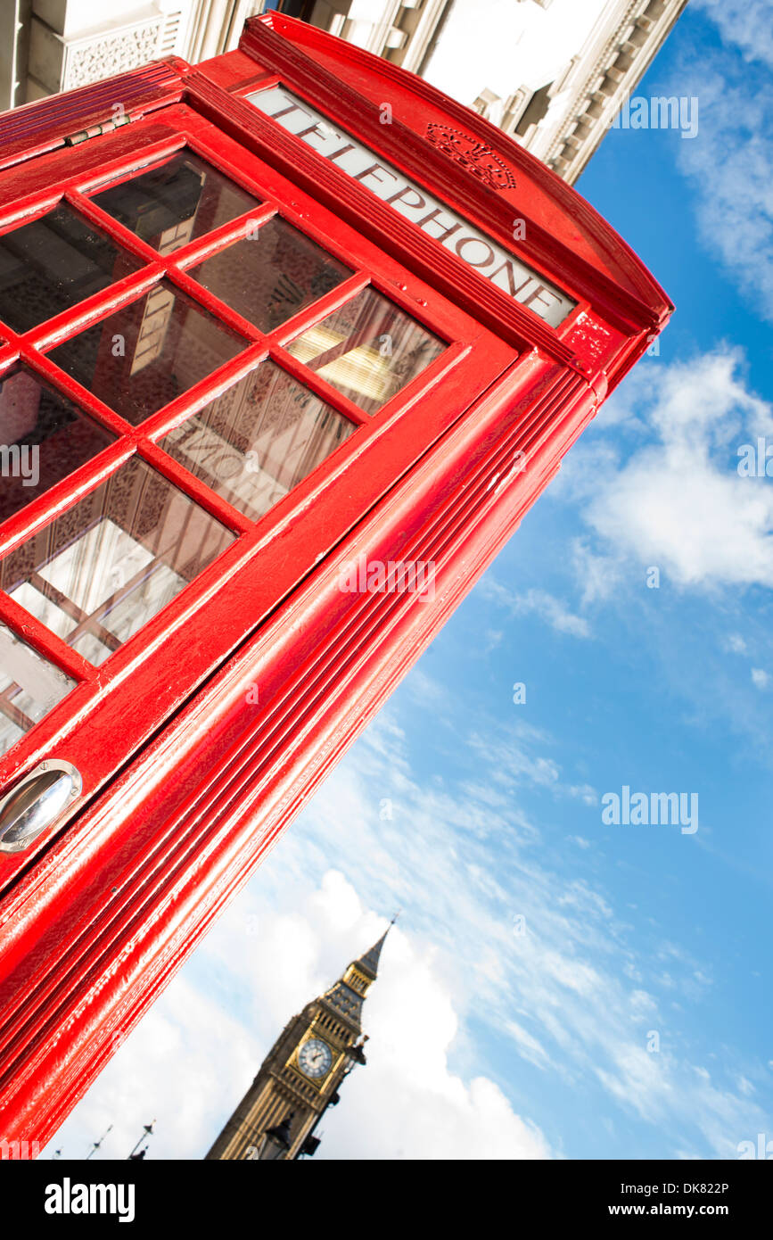 Big ben and red phone cabine in London - Stock Image