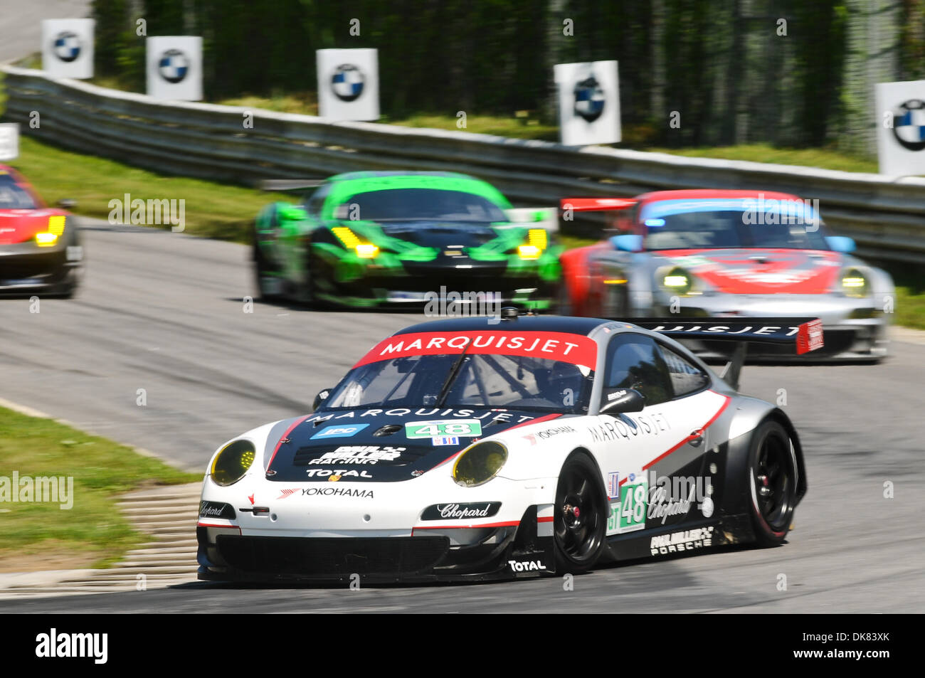 July 9, 2011 - Lakeville, Connecticut, U.S - The #48 Paul Miller Racing driven by Bryce Miller and Sascha Maassen turns into the uphill climb during the ALMS Northeast Grand Prix at Lime Rock Park. (Credit Image: © Geoff Bolte/Southcreek Global/ZUMAPRESS.com) - Stock Image