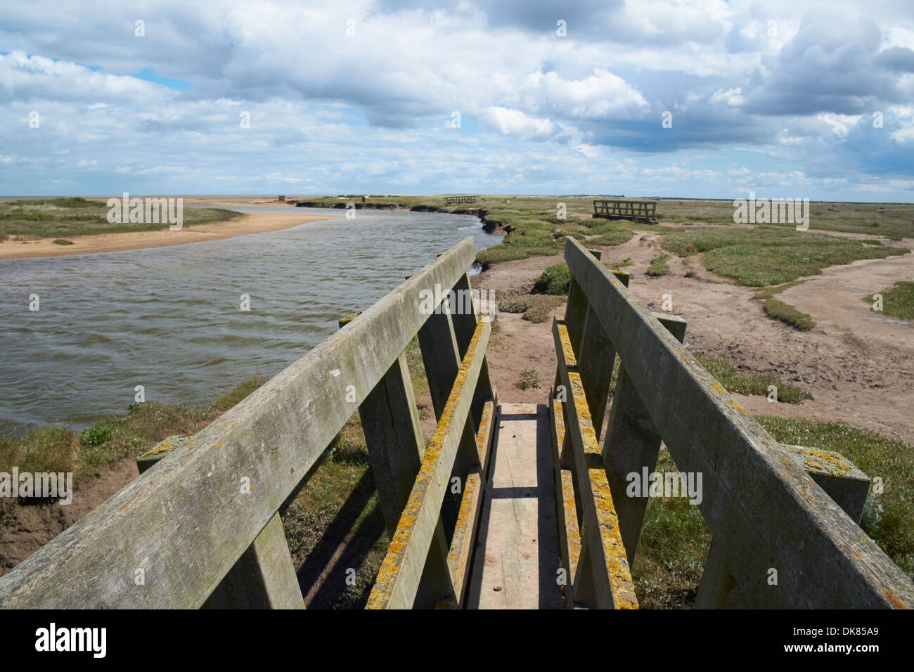 Footbridge, Stiffkey Saltmarshes, Norfolk, England. Stock Photo