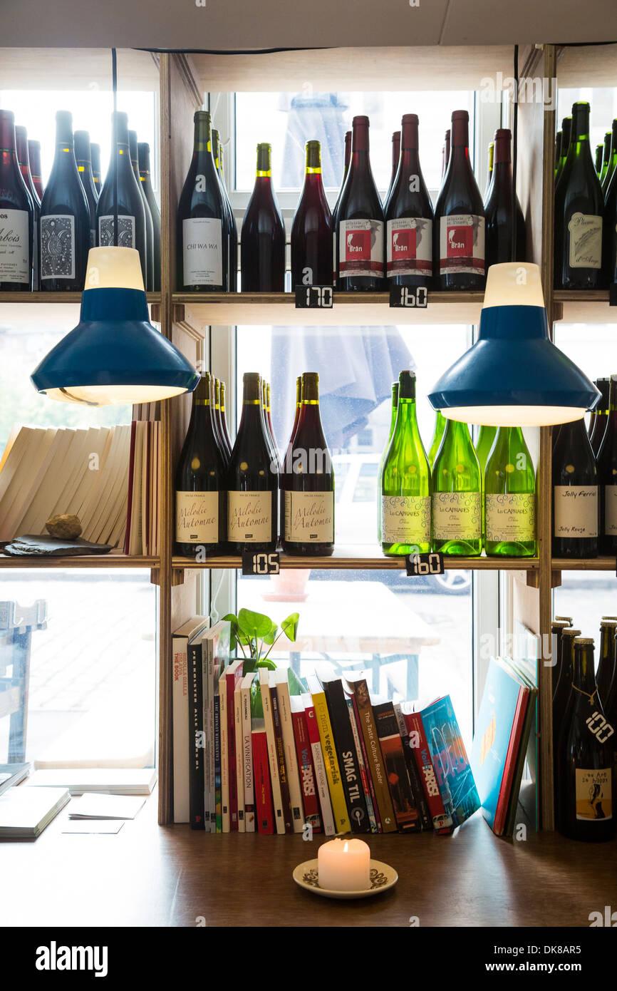 Manfreds og Vin wine bar at Jaegersborggade Street, Copenhagen, Denmark. - Stock Image