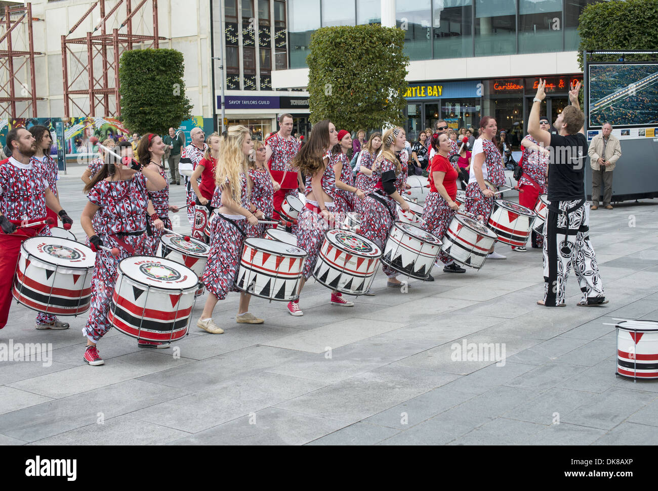 Performers in the Guildhall Square at the Music in the City music event in Southampton, Hampshire, England, UK - Stock Image