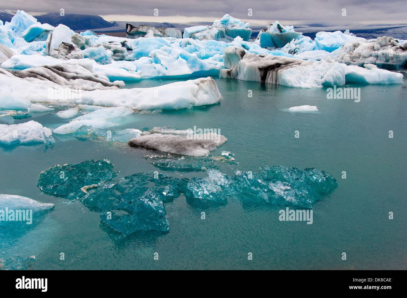 Icebergs, Jokulsarlon Lagoon, Skaftafell, Iceland - Stock Image