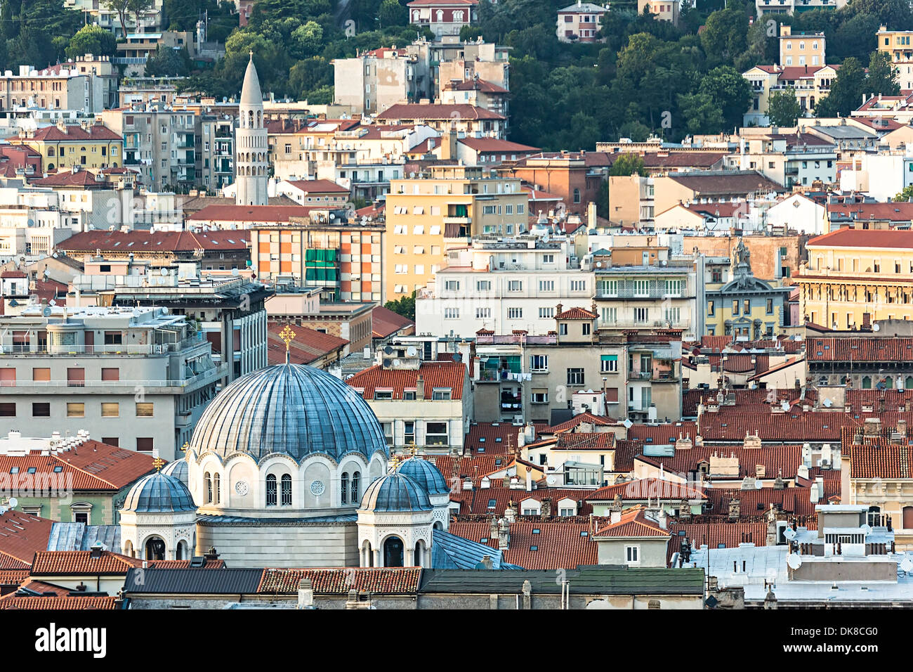 Roof tops with red tiles, Trieste, Italy - Stock Image