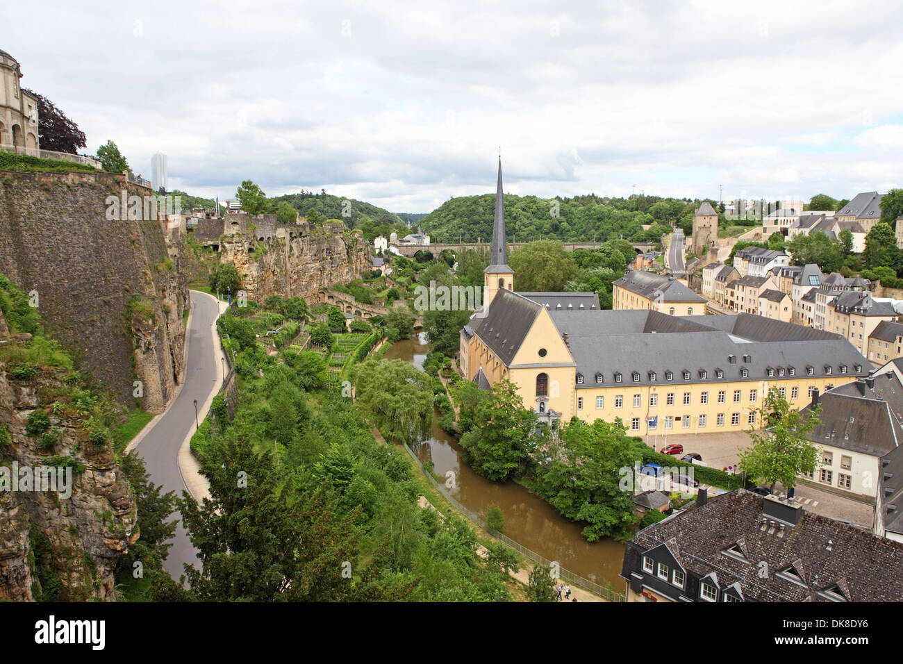 The Bock Casemates overlooking the Grund district of Luxembourg. The fortifications were built by Austrian engineers in 1745. - Stock Image