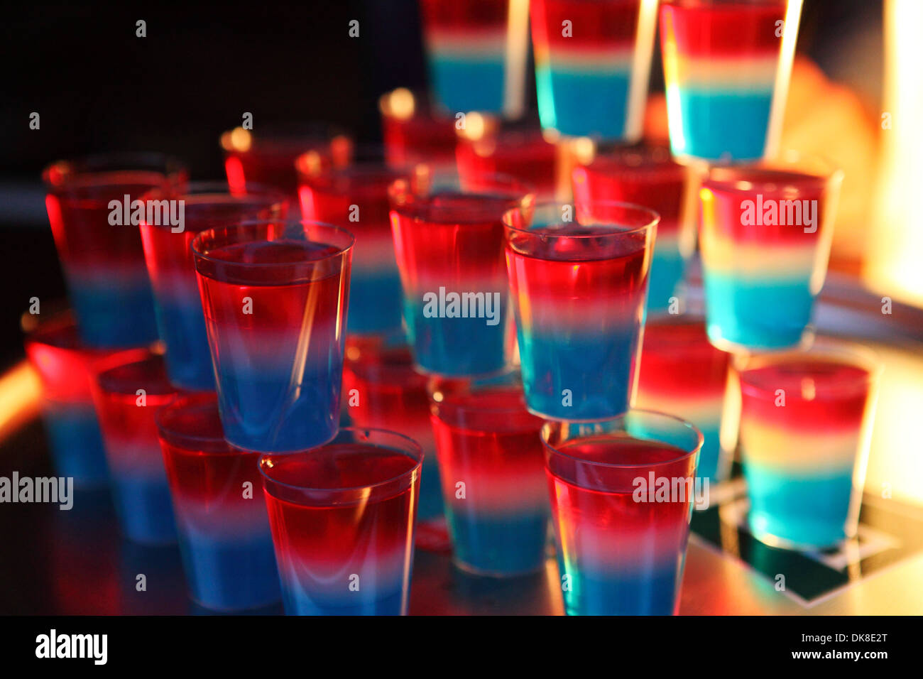 Shot glasses stacked up on Luxembourg's National Day. - Stock Image