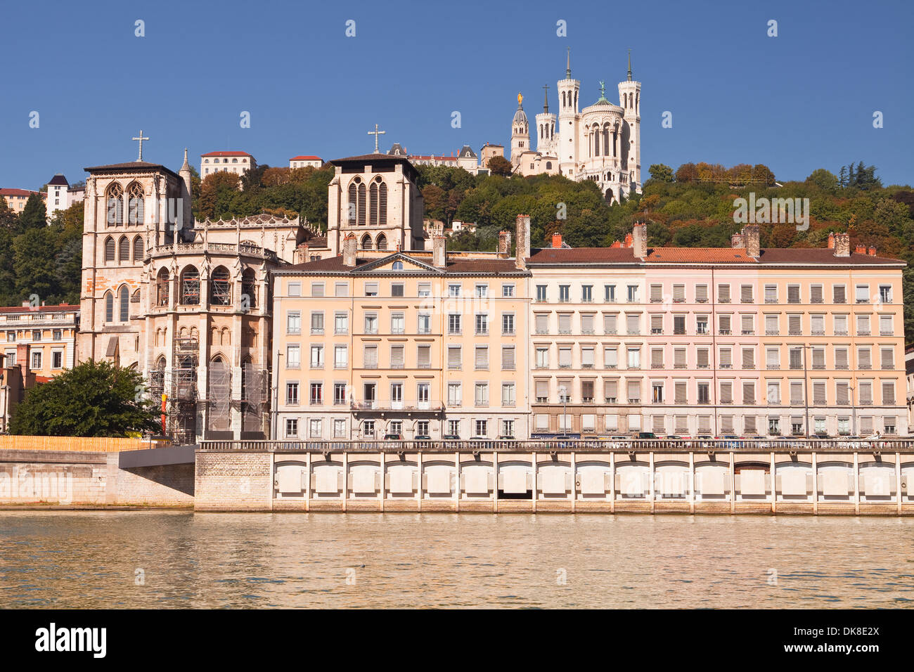 Vieux Lyon and the river Saone. Notre Dame de Fourviere can be seen on the hill. - Stock Image