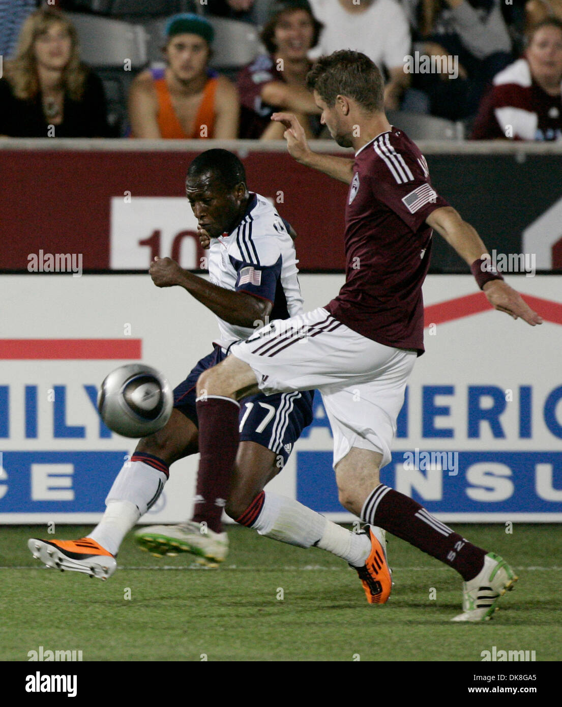 Jul 23, 2011 - Commerce City, Colorado, U.S. - New England Revolution's SAINEY NYASSI and Colorado Rapids' DREW MOOR fight for possession of the ball during the second half of their 2-2 tie. (Credit Image: © Will Powers/ZUMAPress.com) - Stock Image