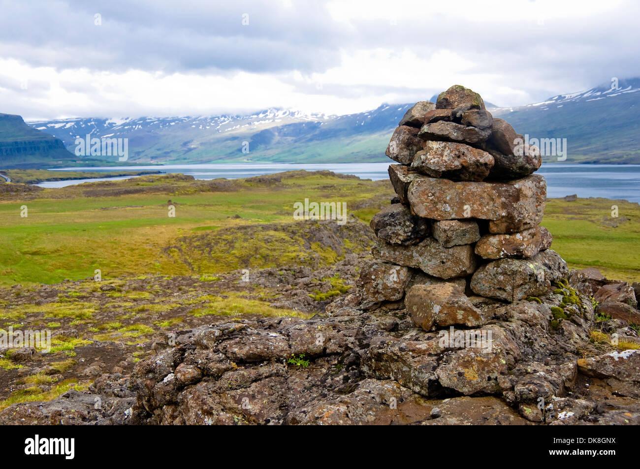 Stone Piles, Hofn, Iceland - Stock Image