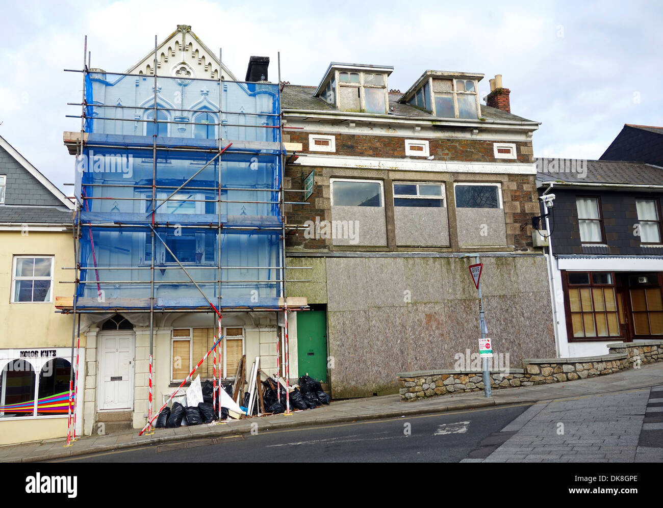 An Old Building Under Renovation Works In Redruth, Cornwall, UK   Stock  Image
