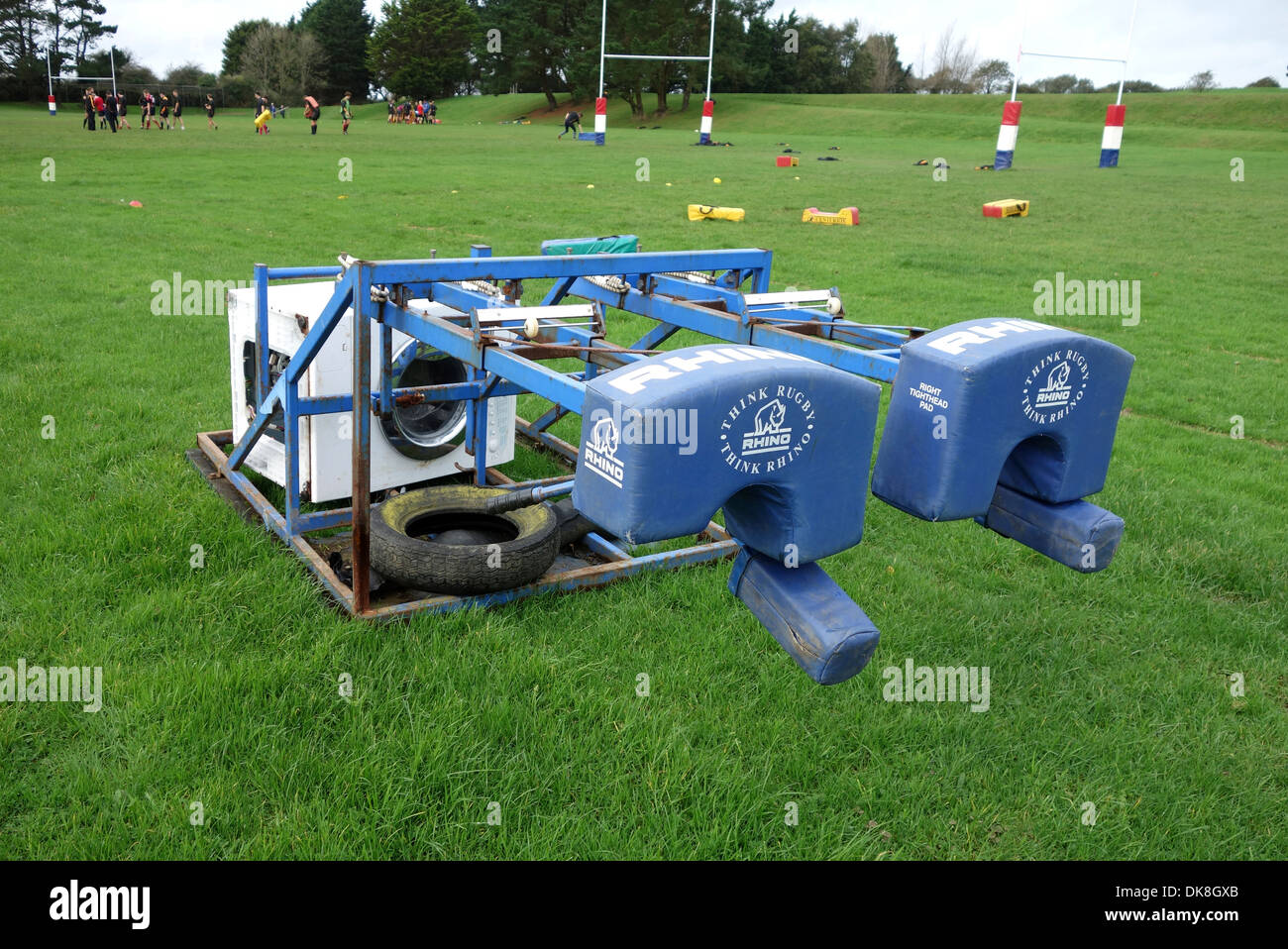 "A ""scrummage machine "" used by rugby teams for practicing scrums Stock Photo"