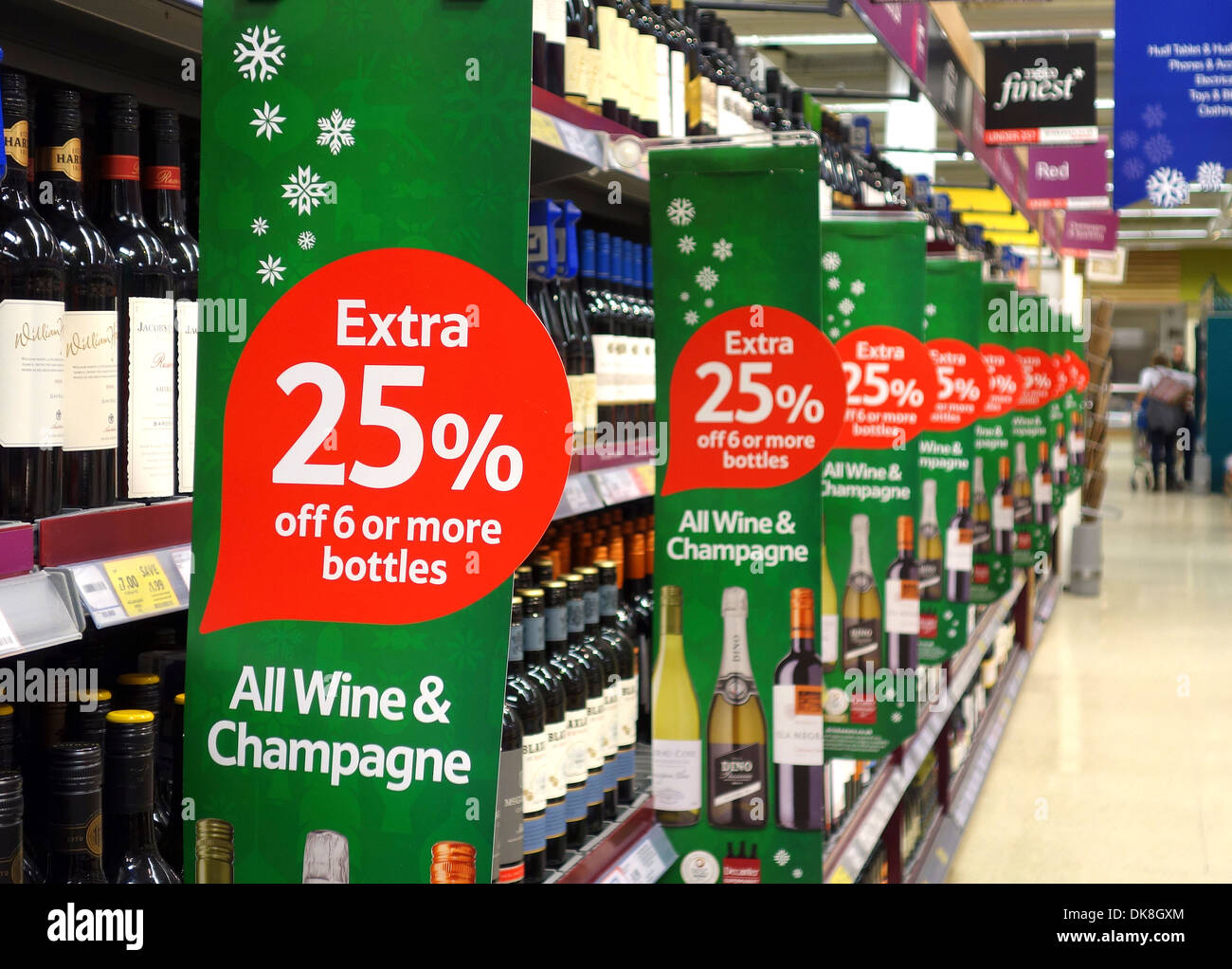 Money Off Christmas Drinks Signs In A Tesco Store UK