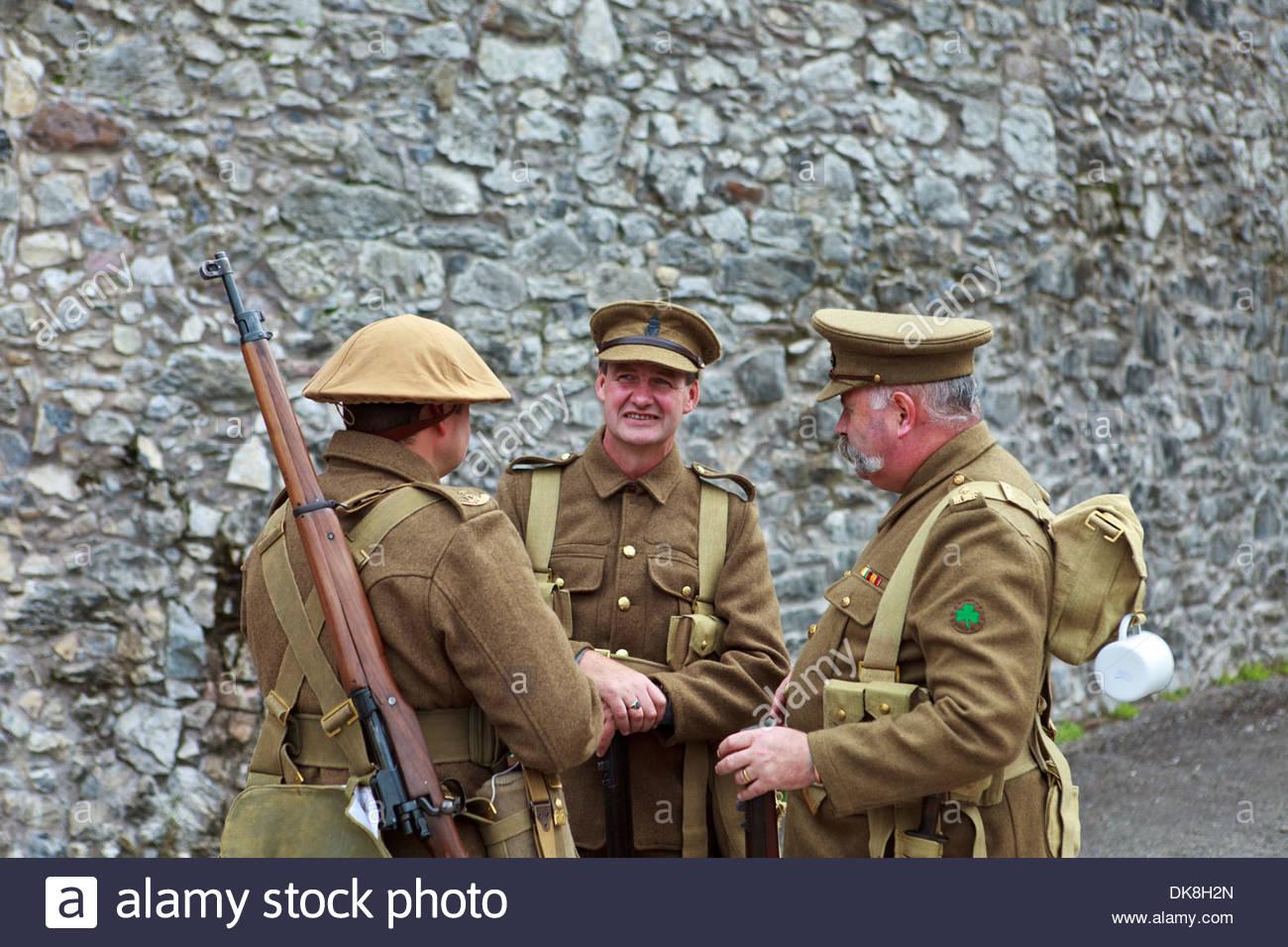 Reenactment of Irish Civil War, men dressed in period uniforms from the Irish Civil war period - Stock Image