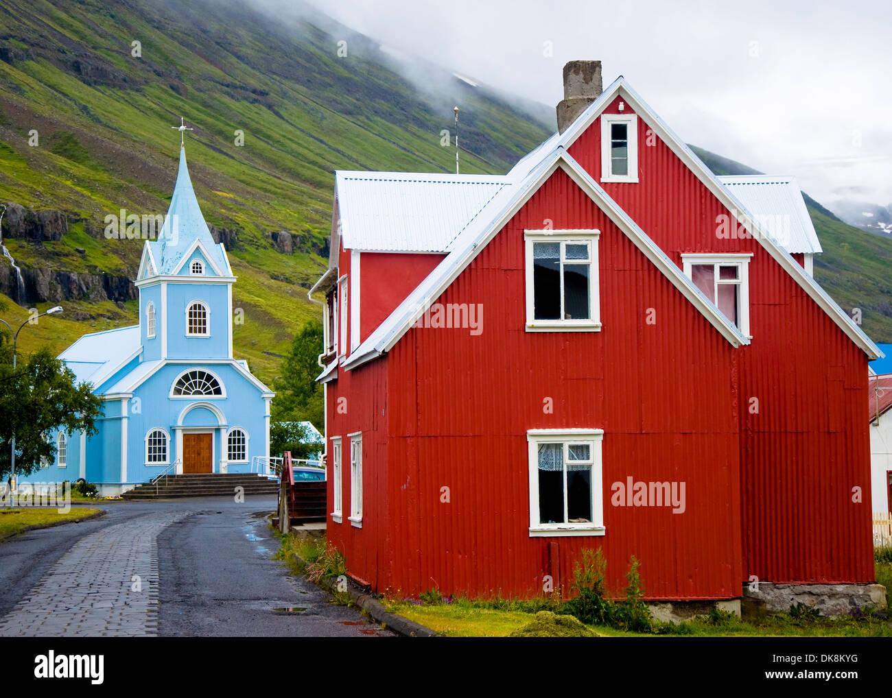 Colourful houses, Seydisfjordur, Iceland - Stock Image
