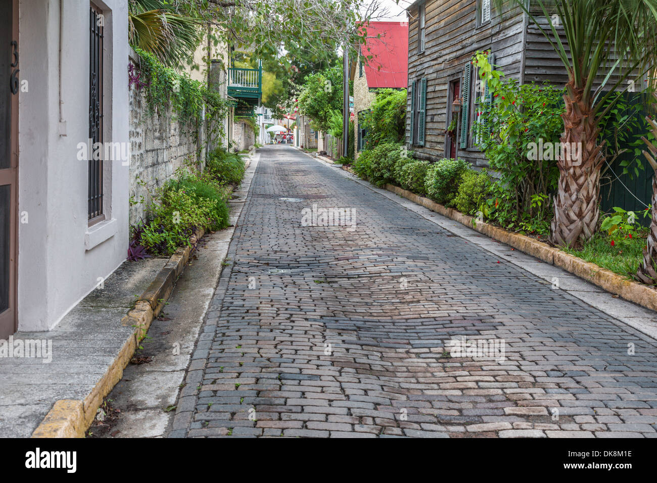 Residential brick paved street in the historic district of downtown St. Augustine, Florida - Stock Image