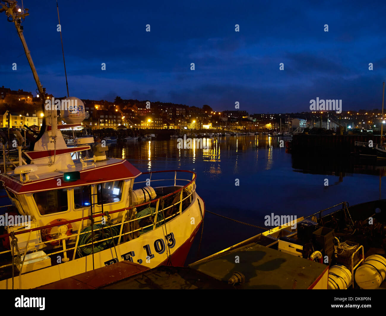 Whitby Upper Harbour at night - Stock Image