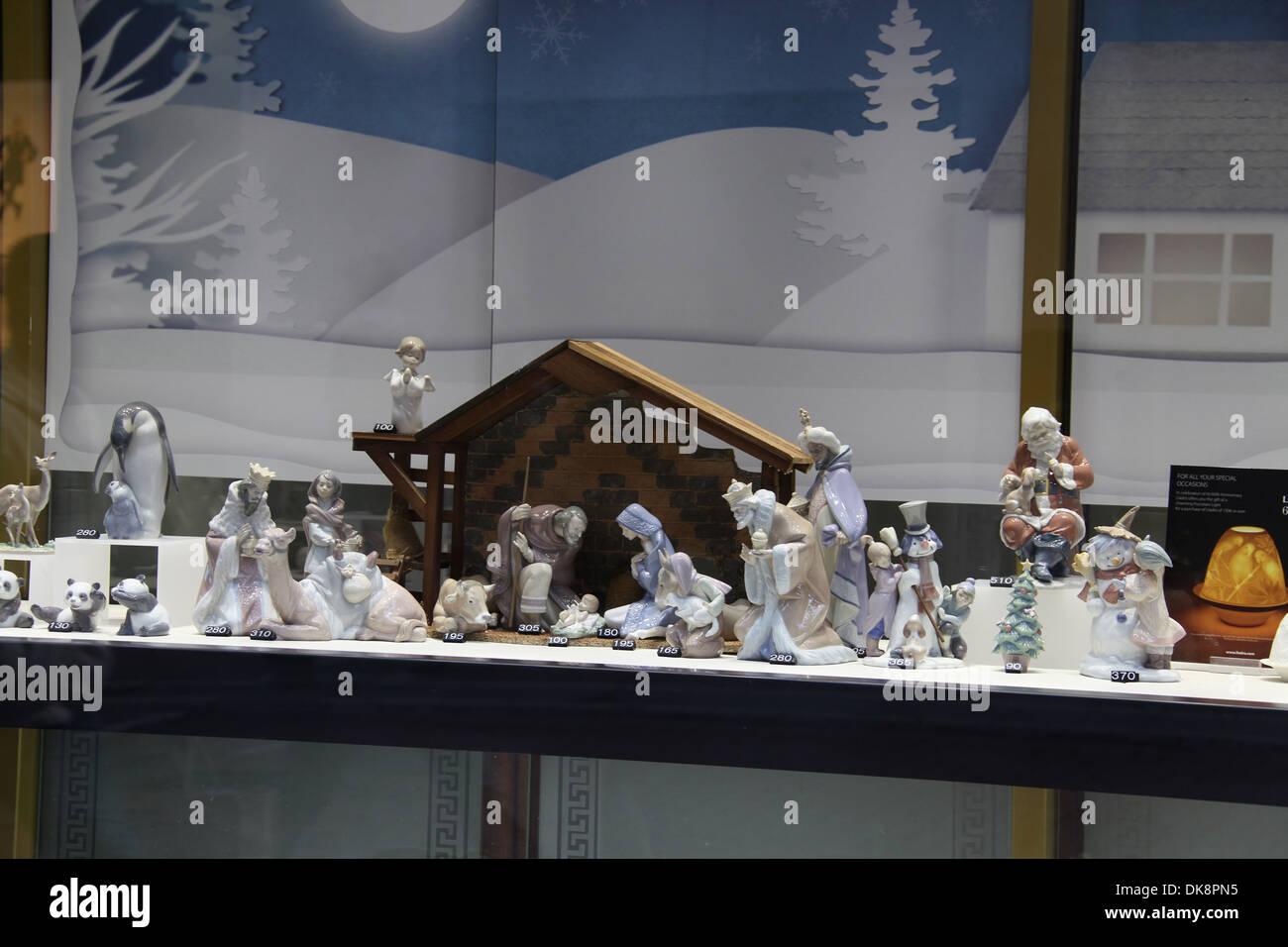 China Nativity Figures in a Dublin Shop Window Stock Photo