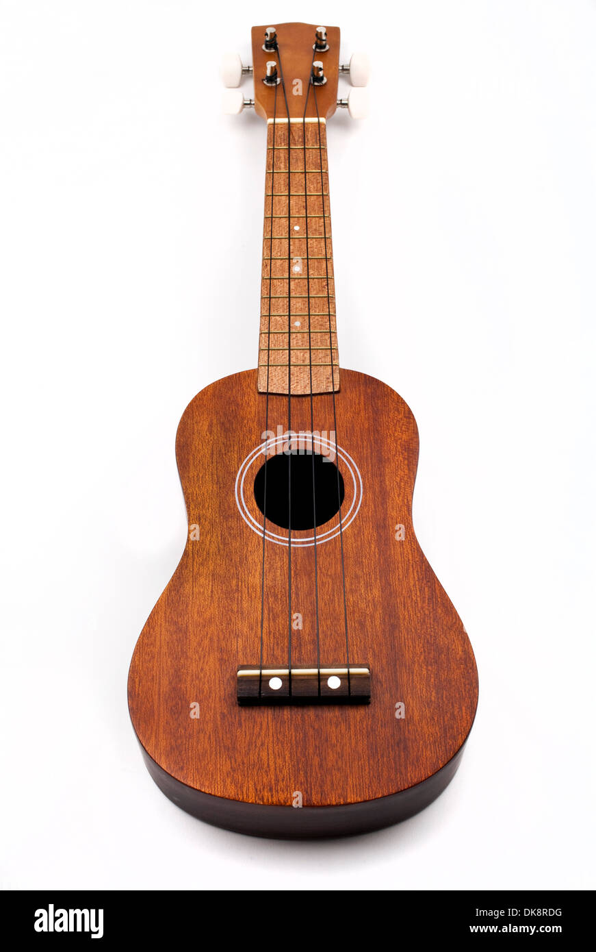 Ukulele on a white background. Stock Photo