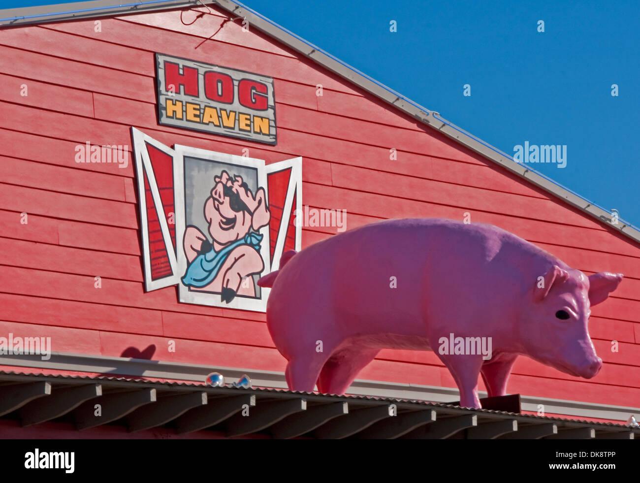 Hog Heaven restaurant sign at Biloxi on Mississippi Gulf Coast. - Stock Image