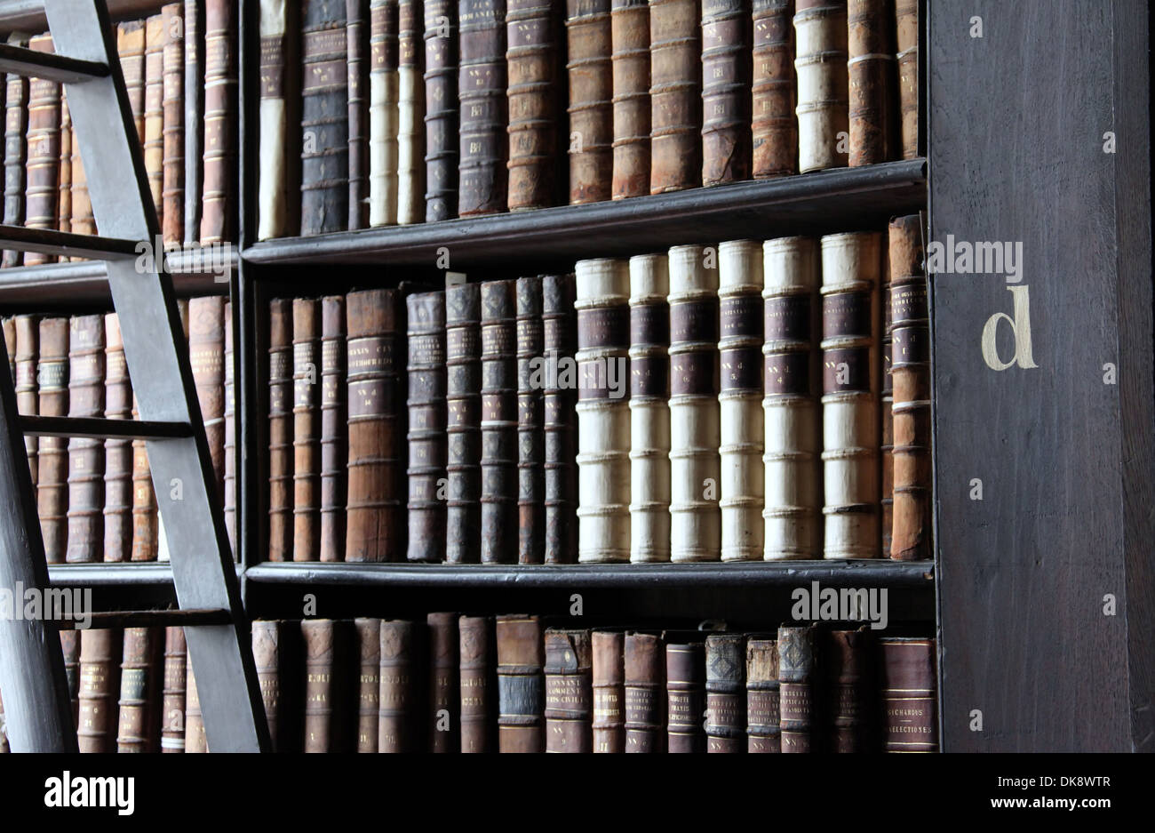 Bookshelves In The Long Room At Trinity College Library In Dublin