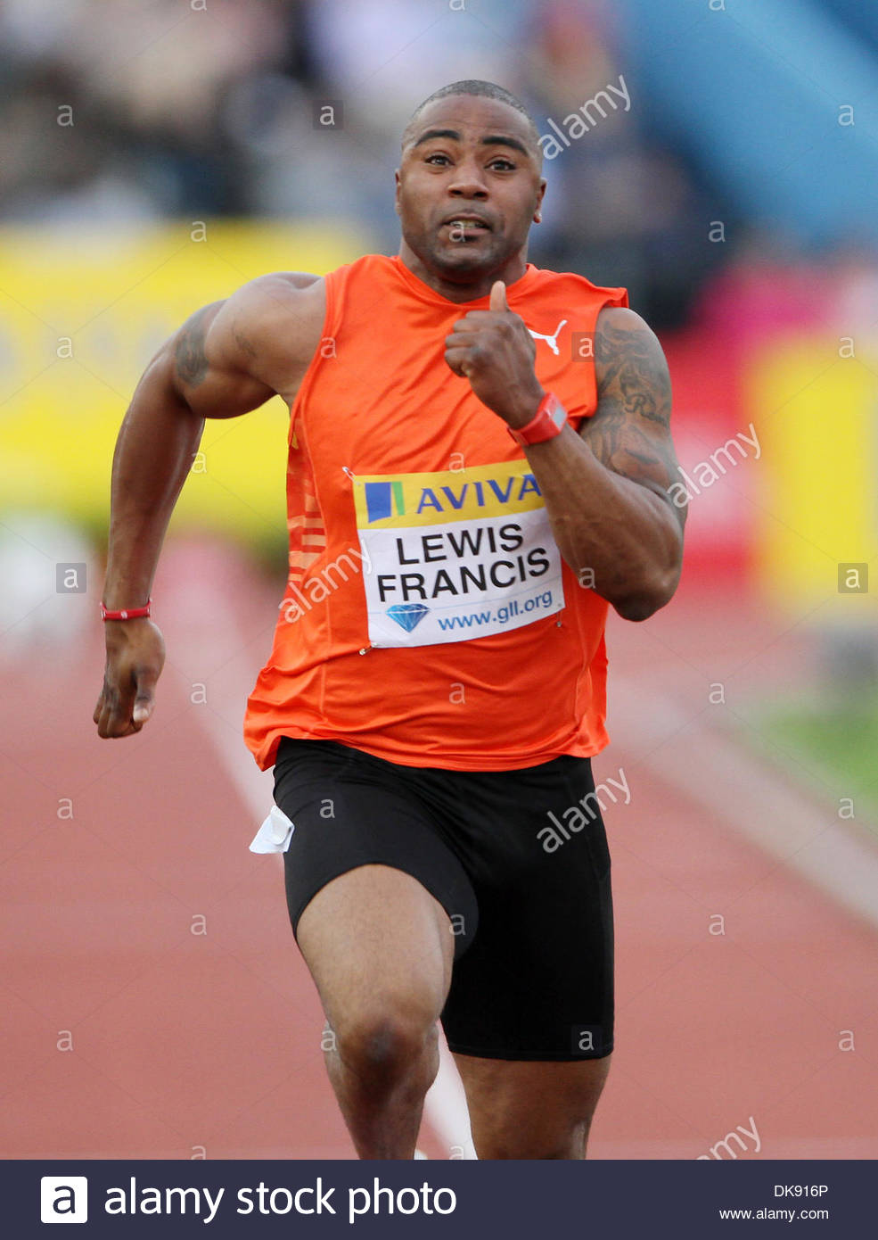 Britains Mark Lewis-Francis during his 100m heat..Aviva London Grand Prix..Aviva London Grand Prix..5th August, 2011.(Credit Image: © David Klein/Sportimage/Cal Sport Media/ZUMAPRESS.com) - Stock Image