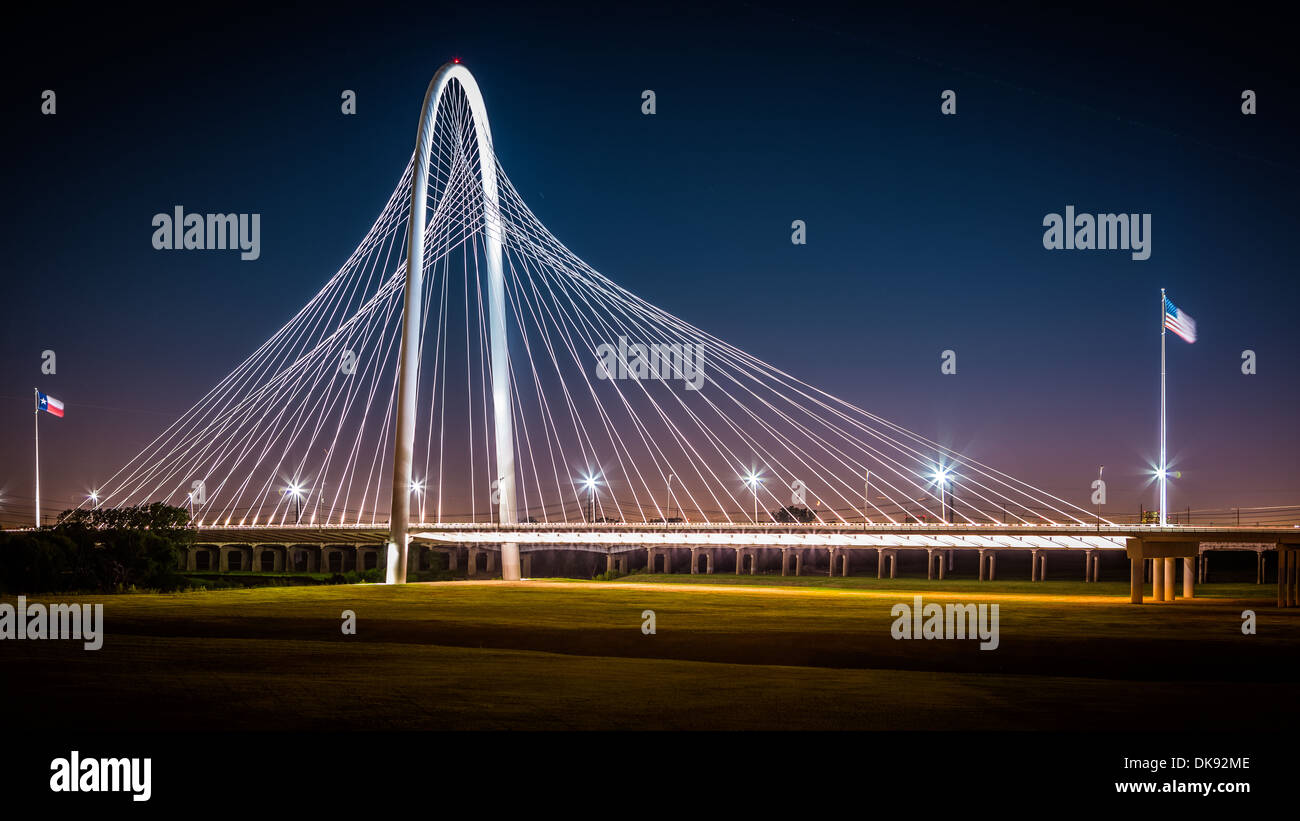 Margaret Hunt Hill bridge by night on October 23, 2013 in Dallas, USA - Stock Image