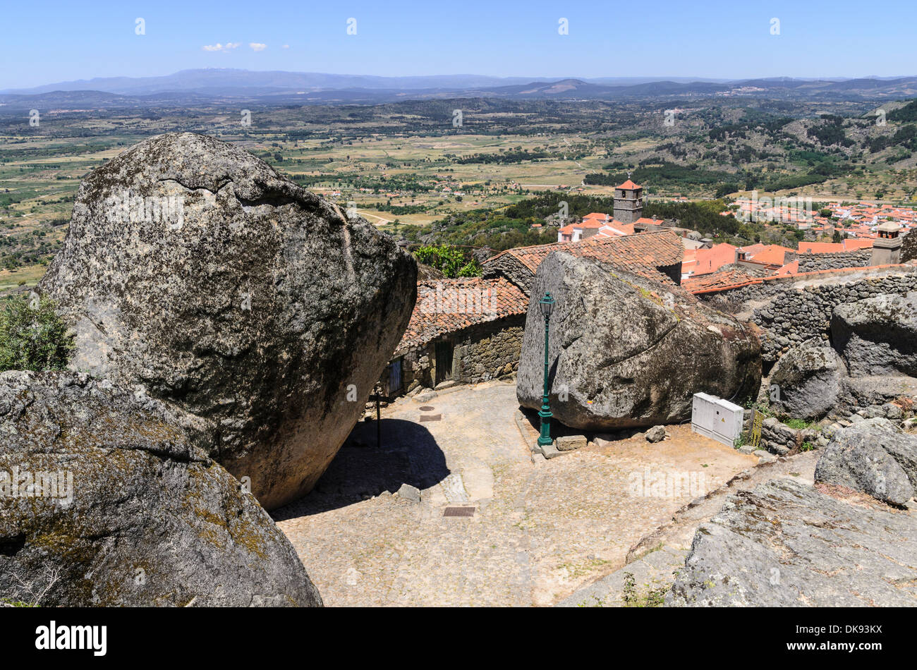 The granite rocks forming part of the medieval village Monsanto, Portugal - Stock Image