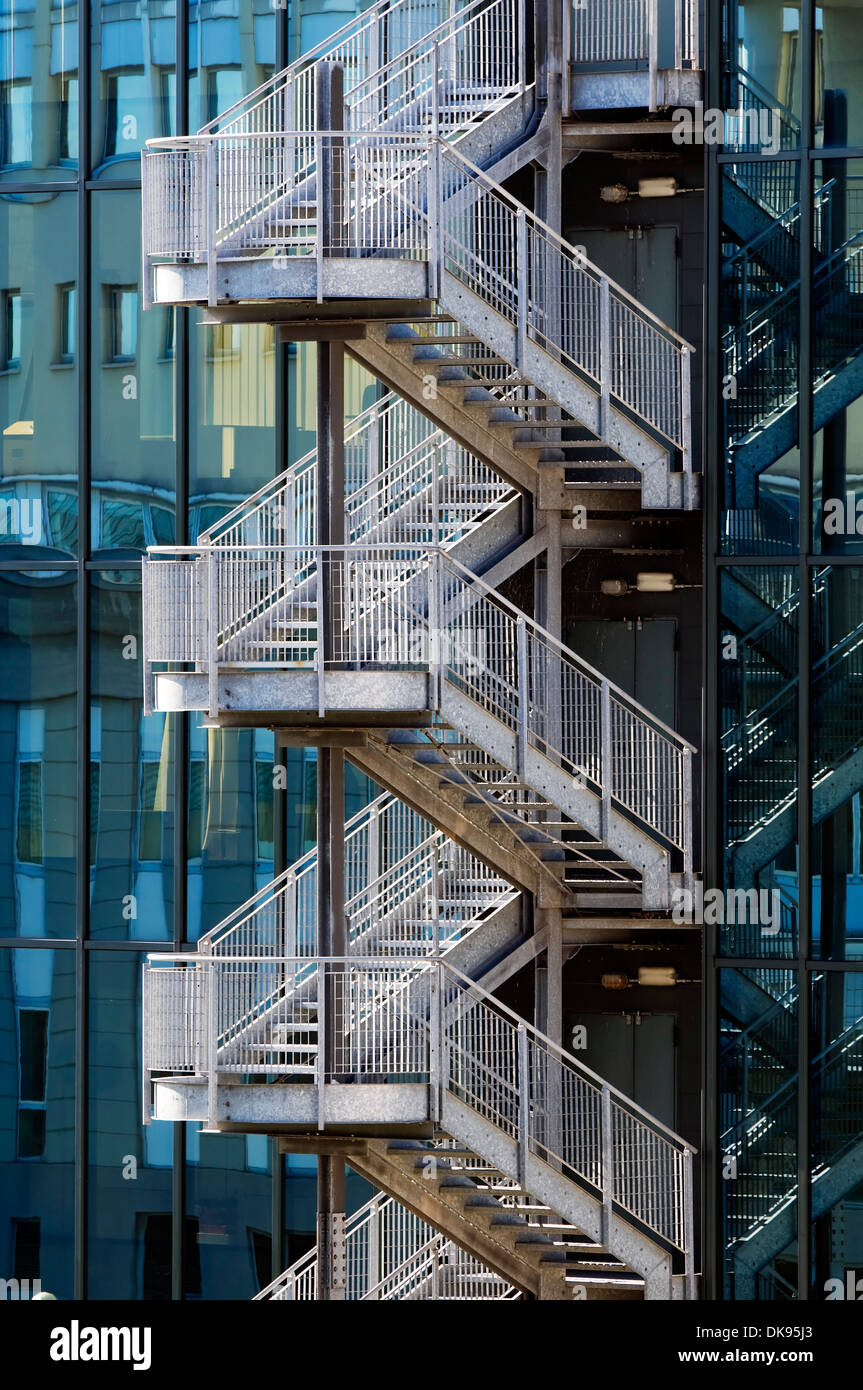 Detail Of Metallic Fair Escape Stair Outside Of An Office Building