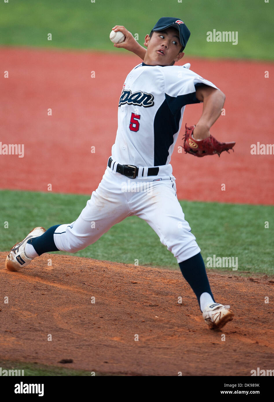 Aug. 13, 2011 - Aberdeen, Maryland, U.S. - Daisuke Sowa, of Japan, pitches during the Cal Ripken World Series in Stock Photo