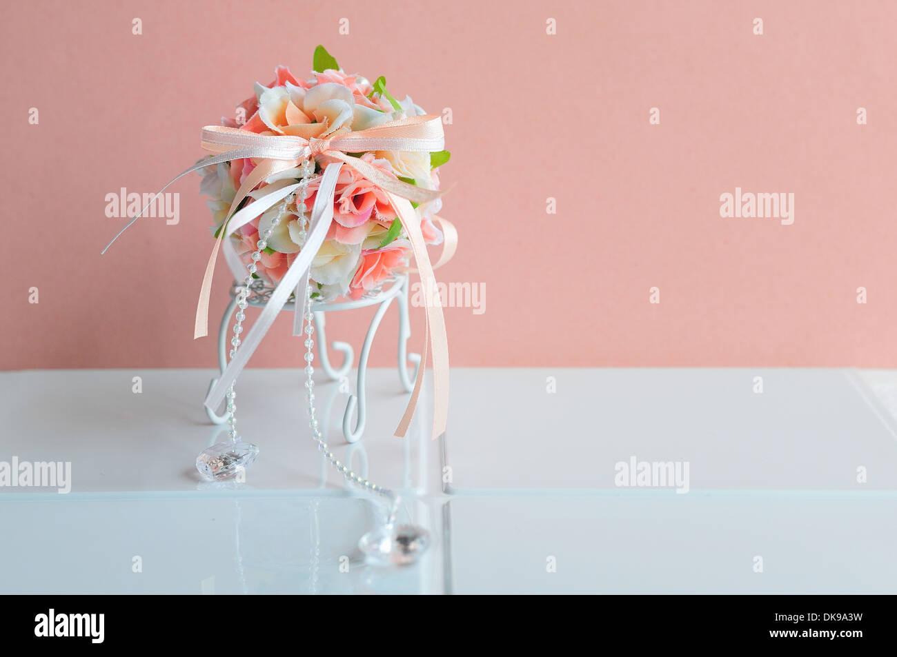 Silk Flower Bouquet - Stock Image